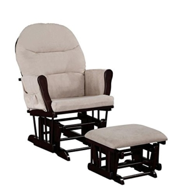 Naomi Home Brisbane Glider & Ottoman Set with Cushion in Cream and Finish in Espresso - 2