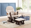 Naomi Home Brisbane Glider & Ottoman Set with Cushion in Cream and Finish in Espresso - 1