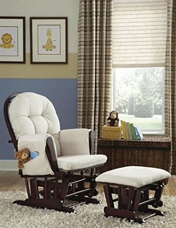 Naomi Home Brisbane Glider & Ottoman Set with Cushion in Cream and Finish in Espresso - 3