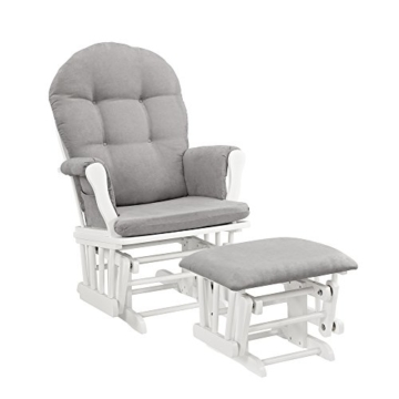 Windsor Glider and Ottoman, White with Gray Cushion -