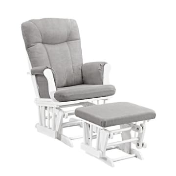 Angel Line Monterey Glider & Ottoman, White with Gray Cushion - 1