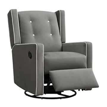 Baby Relax Mikayla Swivel Gliding Recliner, Gray Microfiber - 1