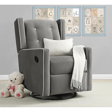 Baby Relax Mikayla Swivel Gliding Recliner, Gray Microfiber - 2