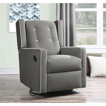 Baby Relax Mikayla Swivel Gliding Recliner, Gray Microfiber - 3