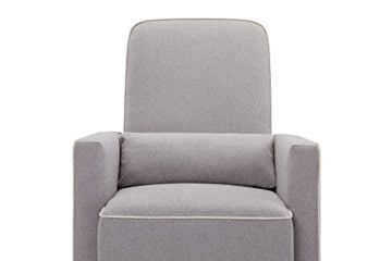DaVinci Olive Upholstered Swivel Glider with Bonus Ottoman, Grey - 8