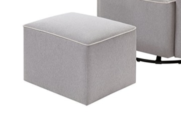 DaVinci Olive Upholstered Swivel Glider with Bonus Ottoman, Grey - 9