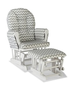 Stork Craft Custom Hoop Glider and Ottoman, White/Gray Chevron - 1