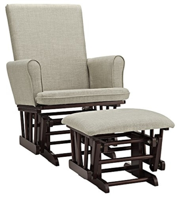 Angel Line Ashley Semi-Upholstered Glider and Ottoman, Espresso with Beige Cushion -