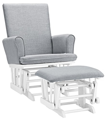 Angel Line Ashley Semi-Upholstered Glider and Ottoman, White with Gray Cushion -