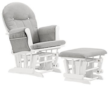 Angel Line Celine Glider and Ottoman, White/Gray Cushion with White Piping - 1