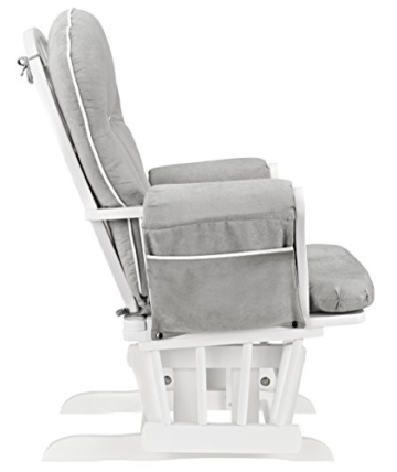 Angel Line Celine Glider and Ottoman, White/Gray Cushion with White Piping - 2