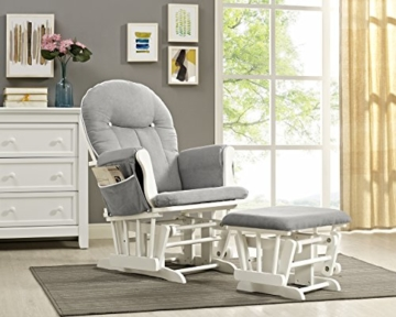 Angel Line Celine Glider and Ottoman, White/Gray Cushion with White Piping - 3