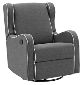 Angel Line Rebecca Upholstered Swivel Gliding Recliner, Dark Gray Linen with White Piping - 1