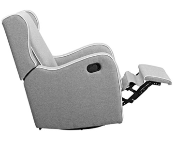 Angel Line Rebecca Upholstered Swivel Gliding Recliner, Gray Linen with White Piping - 2
