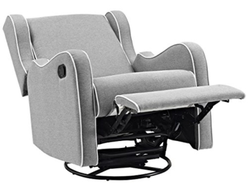 Angel Line Rebecca Upholstered Swivel Gliding Recliner, Gray Linen with White Piping - 3