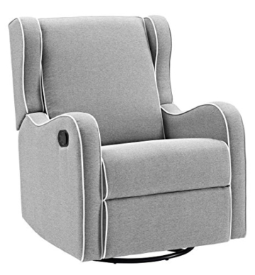 Angel Line Rebecca Upholstered Swivel Gliding Recliner, Gray Linen with White Piping - 1