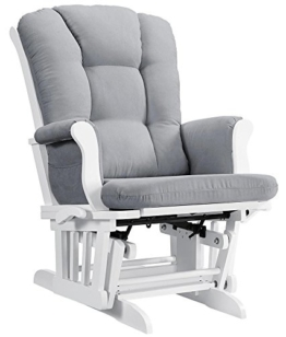 Angel Line Sleigh Reclining Glider, Multi-Position, White with Gray Cushion - 1