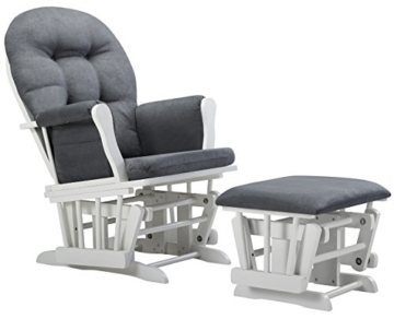 Angel Line Windsor Glider and Ottoman Cushion, White/Dark Gray - 1
