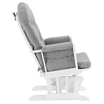 Angel Line Windsor Glider and Ottoman White Finish and Gray Cushions - 3