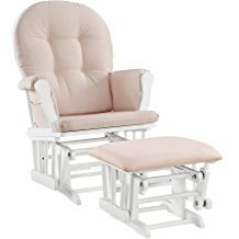 Windsor Glider and Ottoman White Finish and Pink Cushions Enclosed metal bearings Solid wood frames -