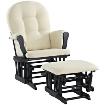 Angel Line Windsor Glider and Ottoman Black Finish and Beige Cushions - 1