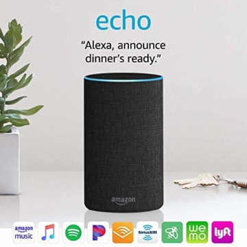 Echo (2nd Generation) - Smart speaker with Alexa - Charcoal Fabric - 3