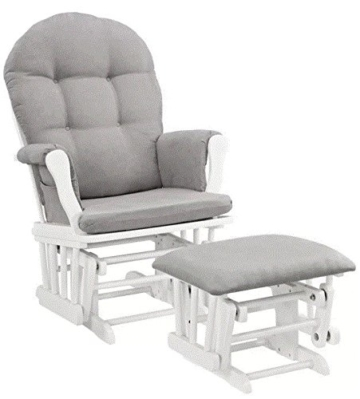 New Windsor Glider And Ottoman White Finish And Gray