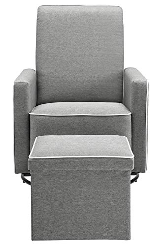 Angel Line Angel Line Sophia Upholstered Swivel Glider w/Storage Ottoman, Gray, Grey - 2