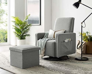 Angel Line Angel Line Sophia Upholstered Swivel Glider w/Storage Ottoman, Gray, Grey - 3