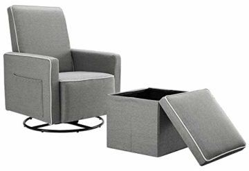 Angel Line Angel Line Sophia Upholstered Swivel Glider w/Storage Ottoman, Gray, Grey - 1
