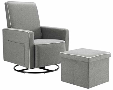 Angel Line Angel Line Sophia Upholstered Swivel Glider w/Storage Ottoman, Gray, Grey - 6