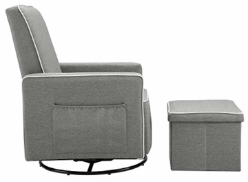 Angel Line Angel Line Sophia Upholstered Swivel Glider w/Storage Ottoman, Gray, Grey - 7