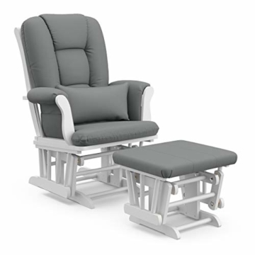 Storkcraft Tuscany Custom Glider and Ottoman with Lumbar Pillow, White/Grey - 1