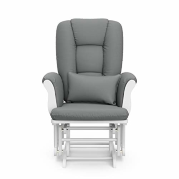 Storkcraft Tuscany Custom Glider and Ottoman with Lumbar Pillow, White/Grey - 8