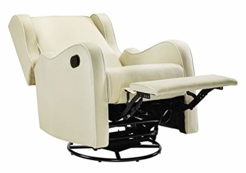 Angel Line Rebecca Upholstered Swivel Gliding Recliner, Beige/White - 4