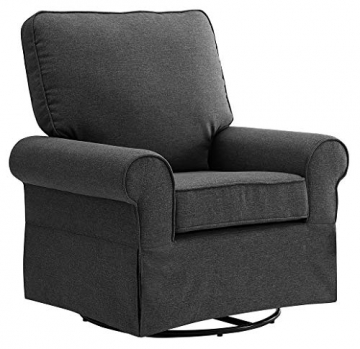 Angel Line Natalie Upholstered Swivel Glider, Dark Grey - 1