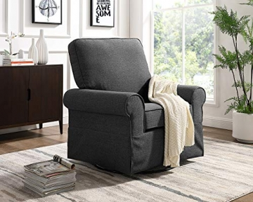 Angel Line Natalie Upholstered Swivel Glider, Dark Grey - 2