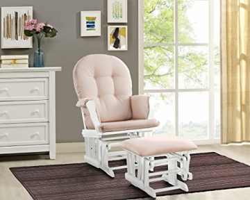 Angel Line Windsor Glider and Ottoman White Finish and Pink Cushions - 1