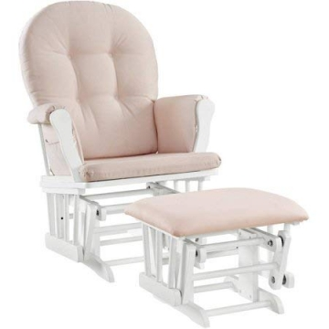 Angel Line Windsor Glider and Ottoman White Finish and Pink Cushions - 2